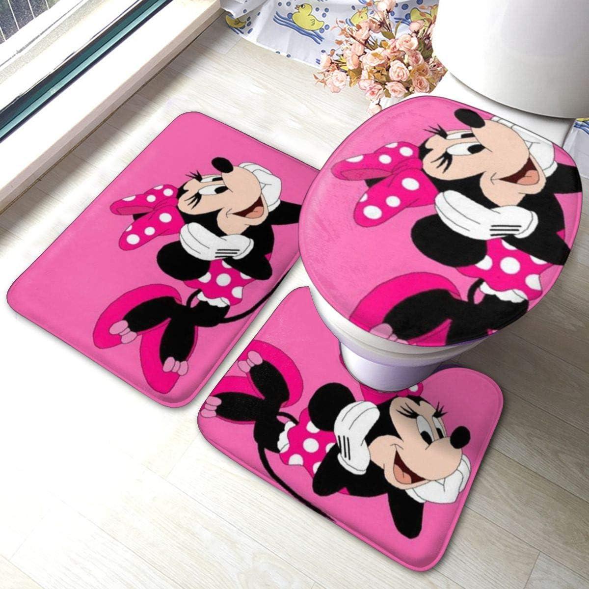 Happy Minnie Mouse Bathroom Rug, Non Slip Bath Mat + U-Shaped Contour Rug + Toilet Lid Cover Set 3 Piece
