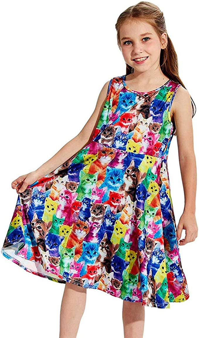 Dinlong Baby Girls Dress Clothes Print Princess Summer Sundress