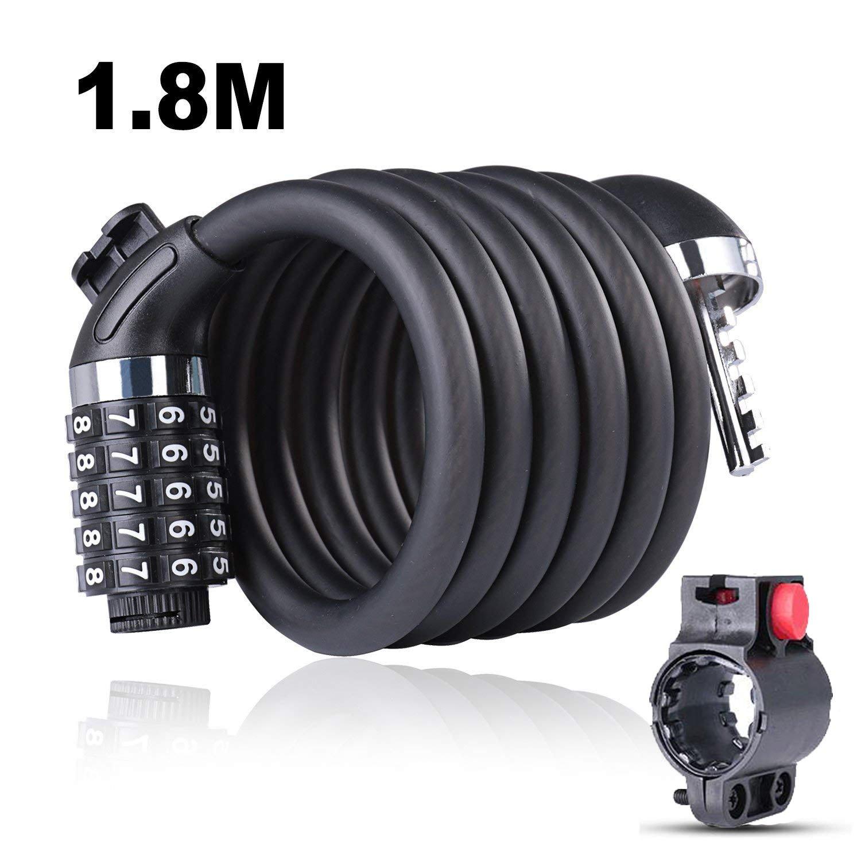 Candado de Bicicleta Seguridad Cable de Bloqueo de 5 Dígitos Restable Combinación con Montaje Cable de Bloqueo antirrobo alta seguridad para la Bicicleta al Aire Libre Motocicleta (1, 5M/1, 8M) (1.8M) Limiwulw