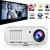 Video Projector Wireless WiFi 3600 Lumen Support HD 1080P 3D, Home Theater Cinema Projector Android for Laptop iPhone Smartphone Computer, Outdoor Movie Projector Entertainment with Keystone Speaker