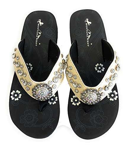 f86ae4a65 Amazon.com  Montana West Womens Flip Flops Shiny Straps AB Crystals Floral  Concho  Shoes