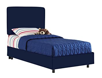 aarons full kids bed by skyline furniture in navy cotton - Kids Bed Frame