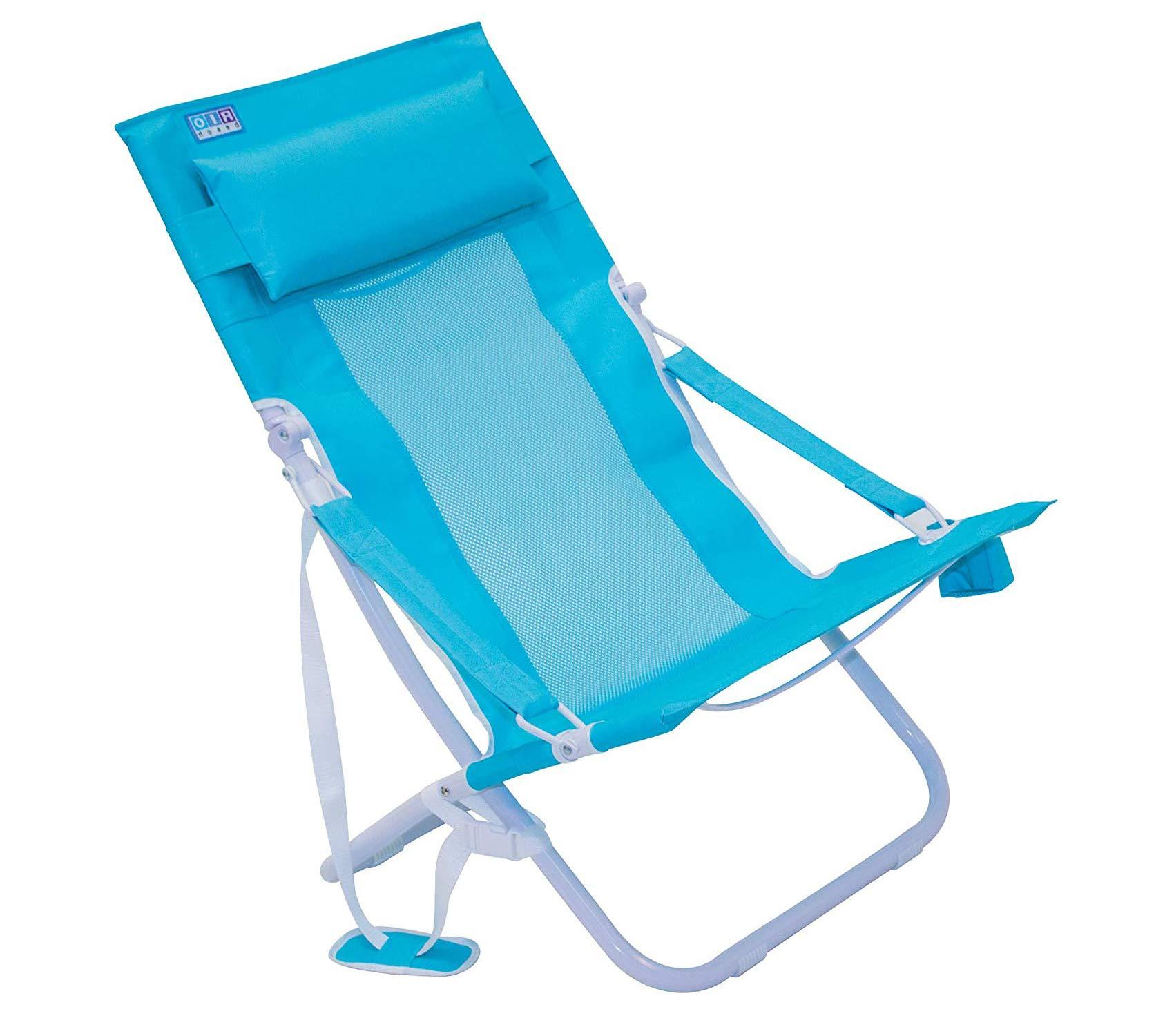 Wood & Style Patio Outdoor Garden Premium Rio Beach Portable Compact Fold Breeze Beach Sling Chair, Teal