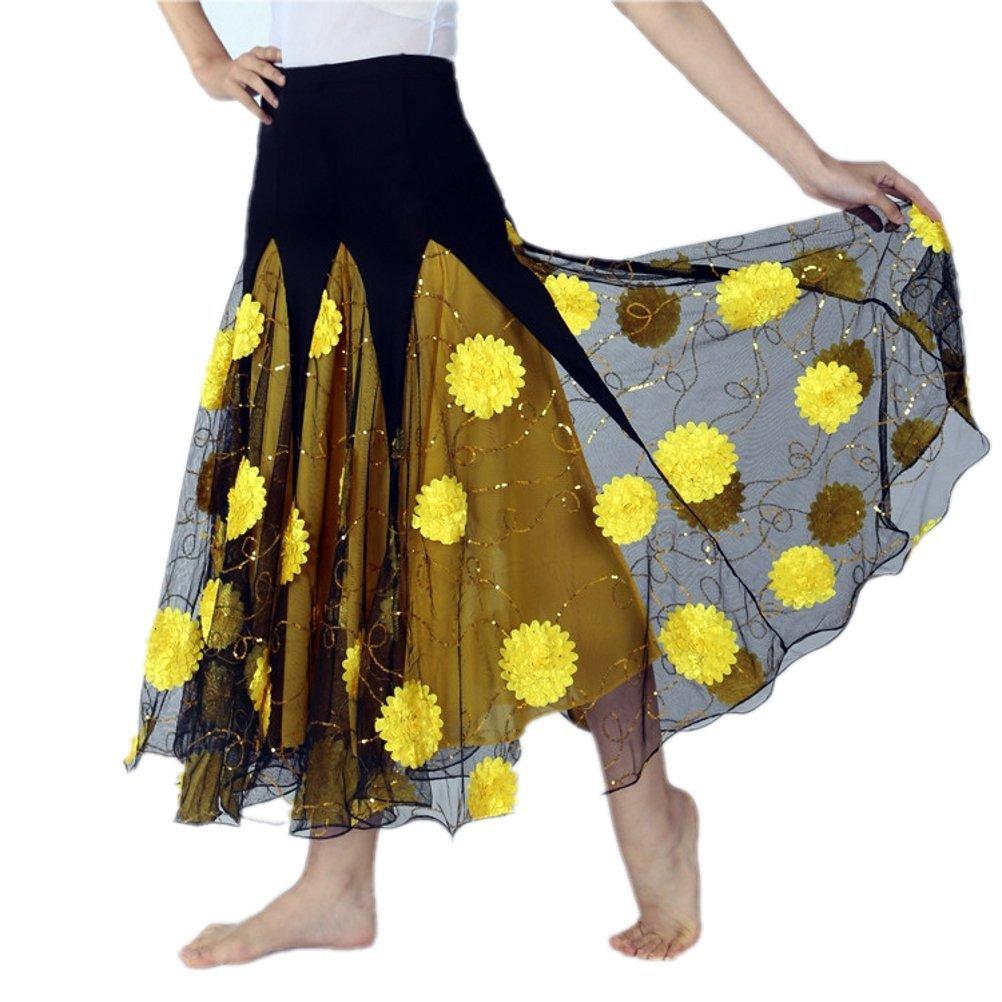 CISMARK Ballroom Dancing Latin Dance Salsa Tango Swing Skirt 002 Yellow One Size by CISMARK