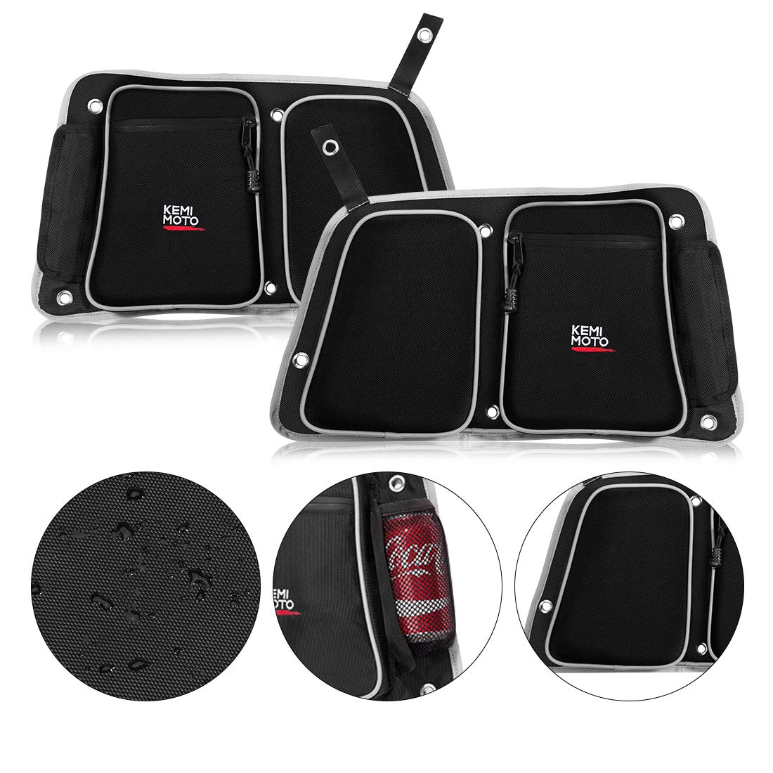 RZR Rear Door Bags, KEMIMOTO Passenger and Driver Side Storage Bag Set with Knee Pad Compatible with 2014-2019 Polaris RZR 4 900, XP4 1000, 4 Door Turbo by kemimoto