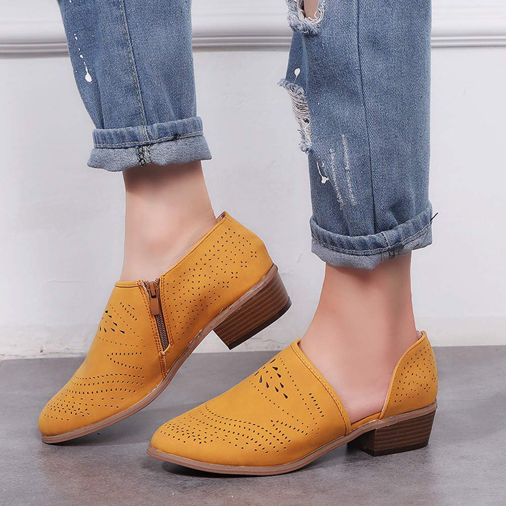 ✔ Hypothesis/_X ☎ Womens Casual Slip On Loafer Pointed Toe Cut Out Slip On Office Casual Dressy Ankle Boot