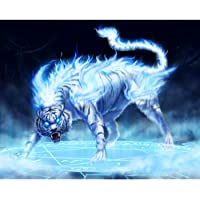Yeefant DIY 5D Diamond Painting Tiger Anger by Number Kits Diamond Embroidery Paintings Pictures Arts Craft Home Wall Decor, Partially DRILLED, 11.8 X 15.7inch