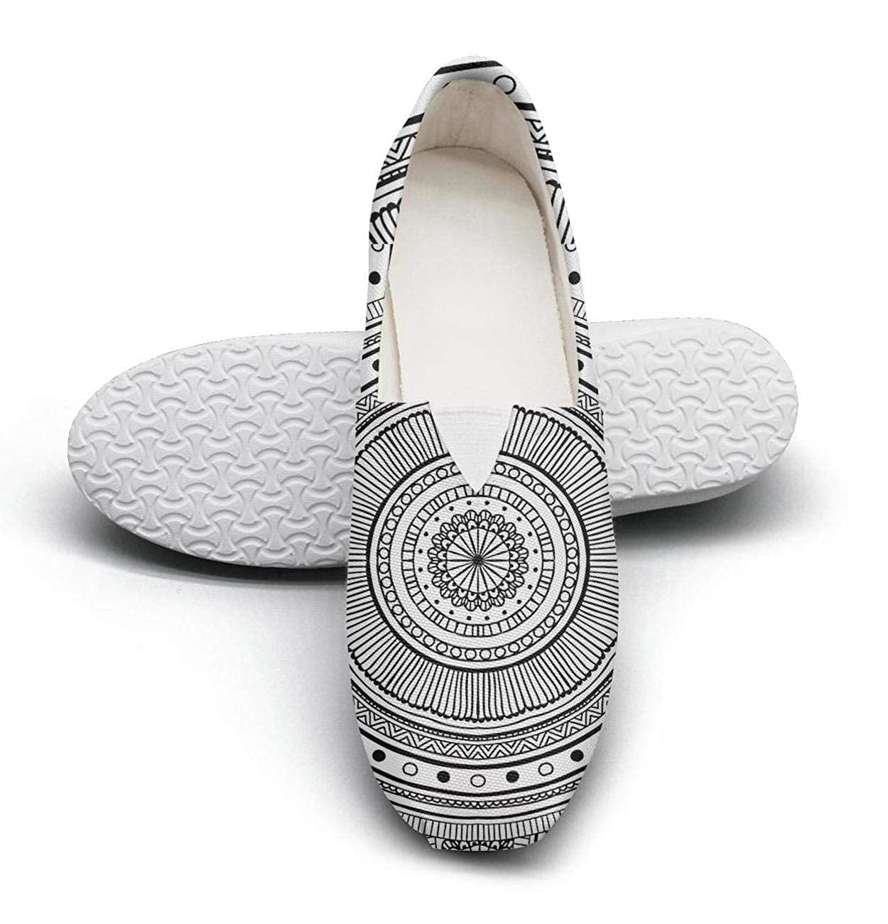 nkfbx Ethnic Black and White Circular Pattern Casual Slip-On Trainers for Women Exercising