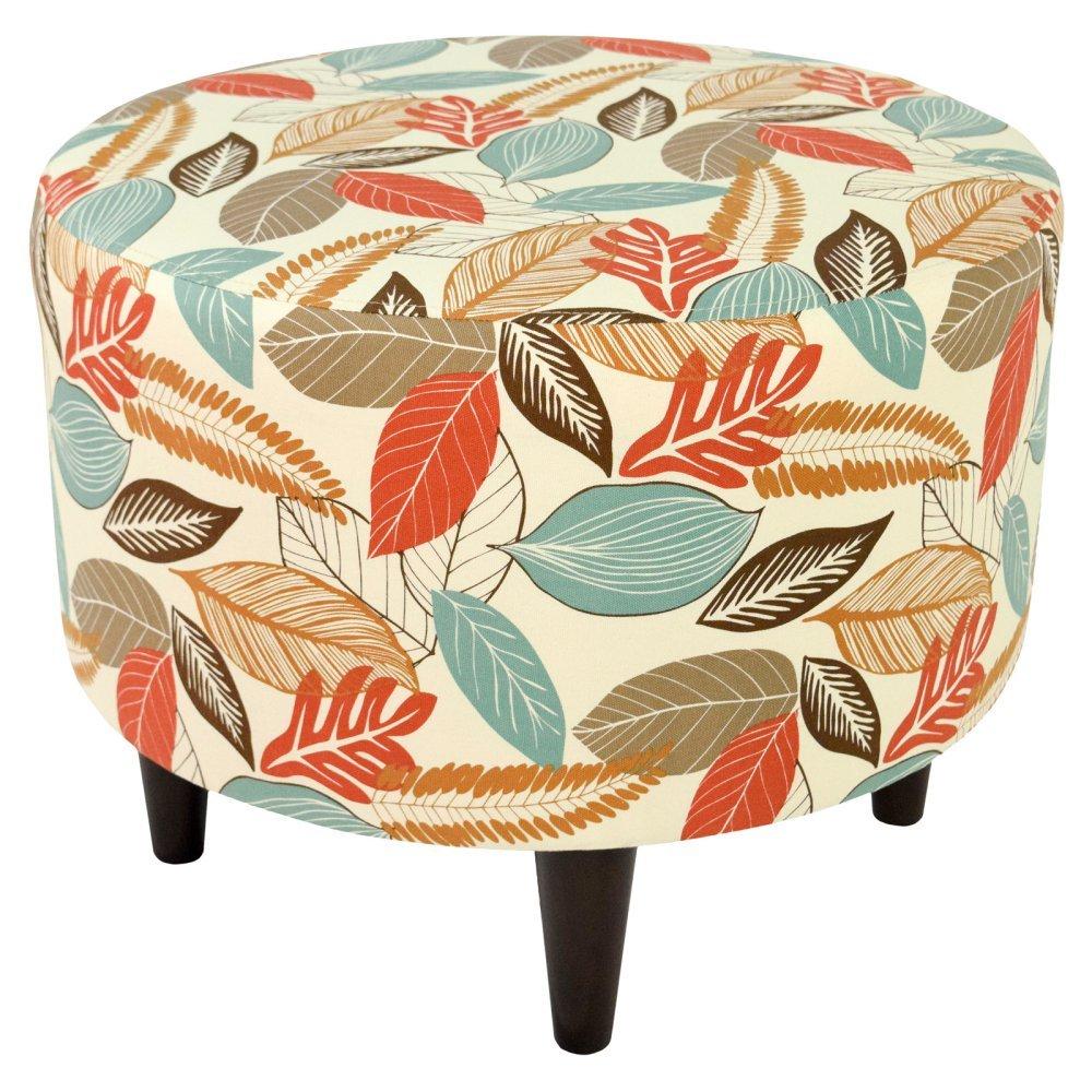 MJL Furniture Designs Sophia Collection Flora-Foliage Series Contemporary Round Ottoman, Coral/Orange/Teal/Brown/Wooden Legs