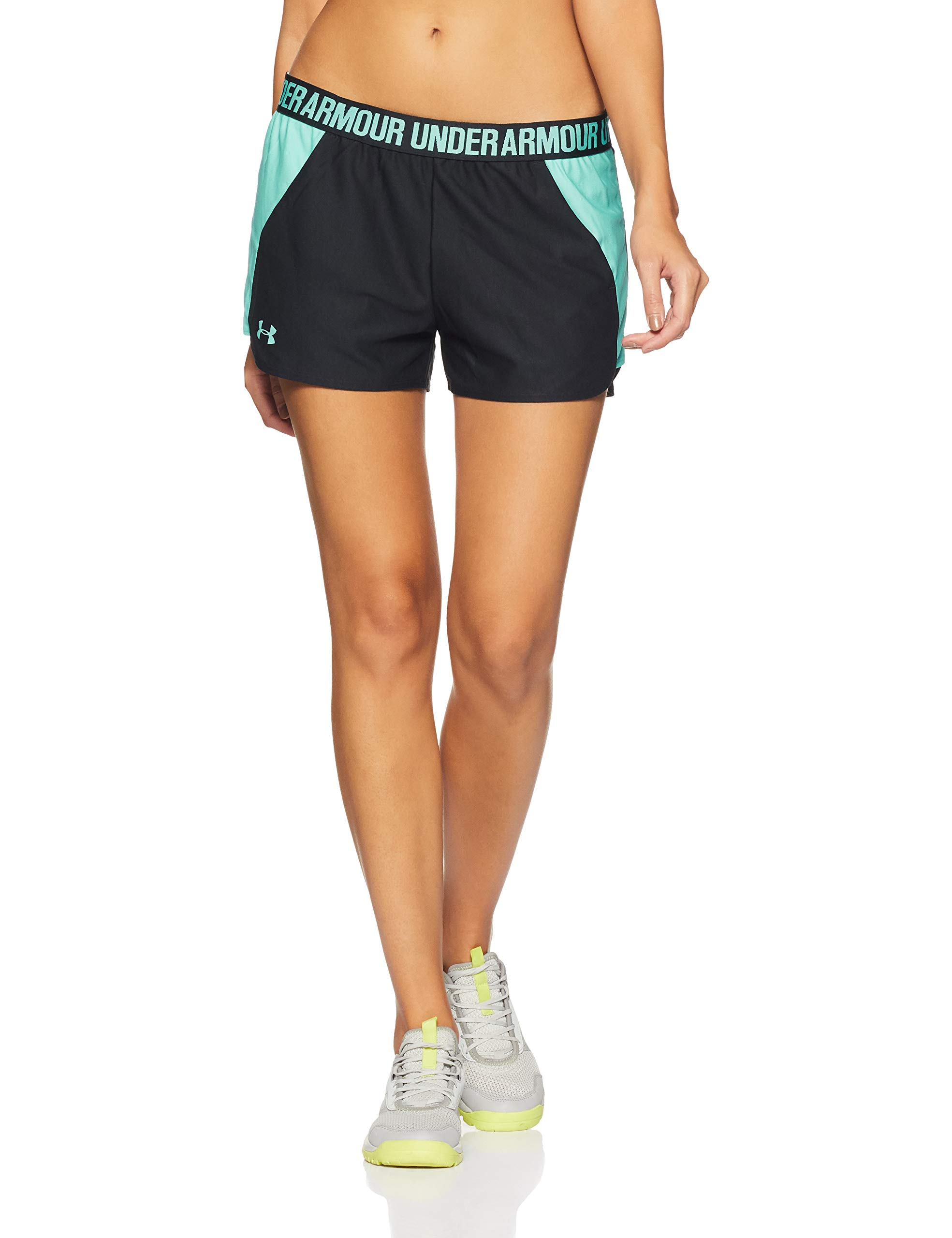 Under Armour Women's Play Up Shorts 2.0, Black (017)/Tropical Tide, XX-Small