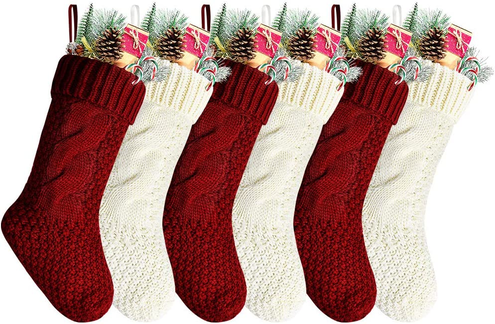 """Kunyida Pack 6,14"""" Unique Burgundy and Ivory White Knit Christmas Stockings"""