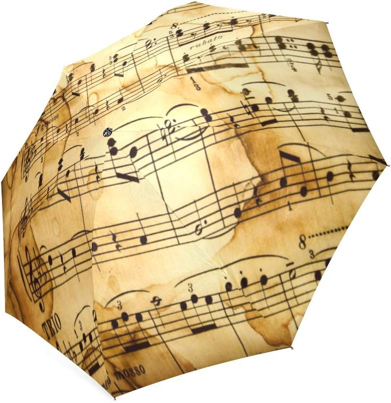 Birthday Gifts//Christmas Day Gifts Retro Style Music Notes Folding Windproof Outdoor Travel Umbrella for Women