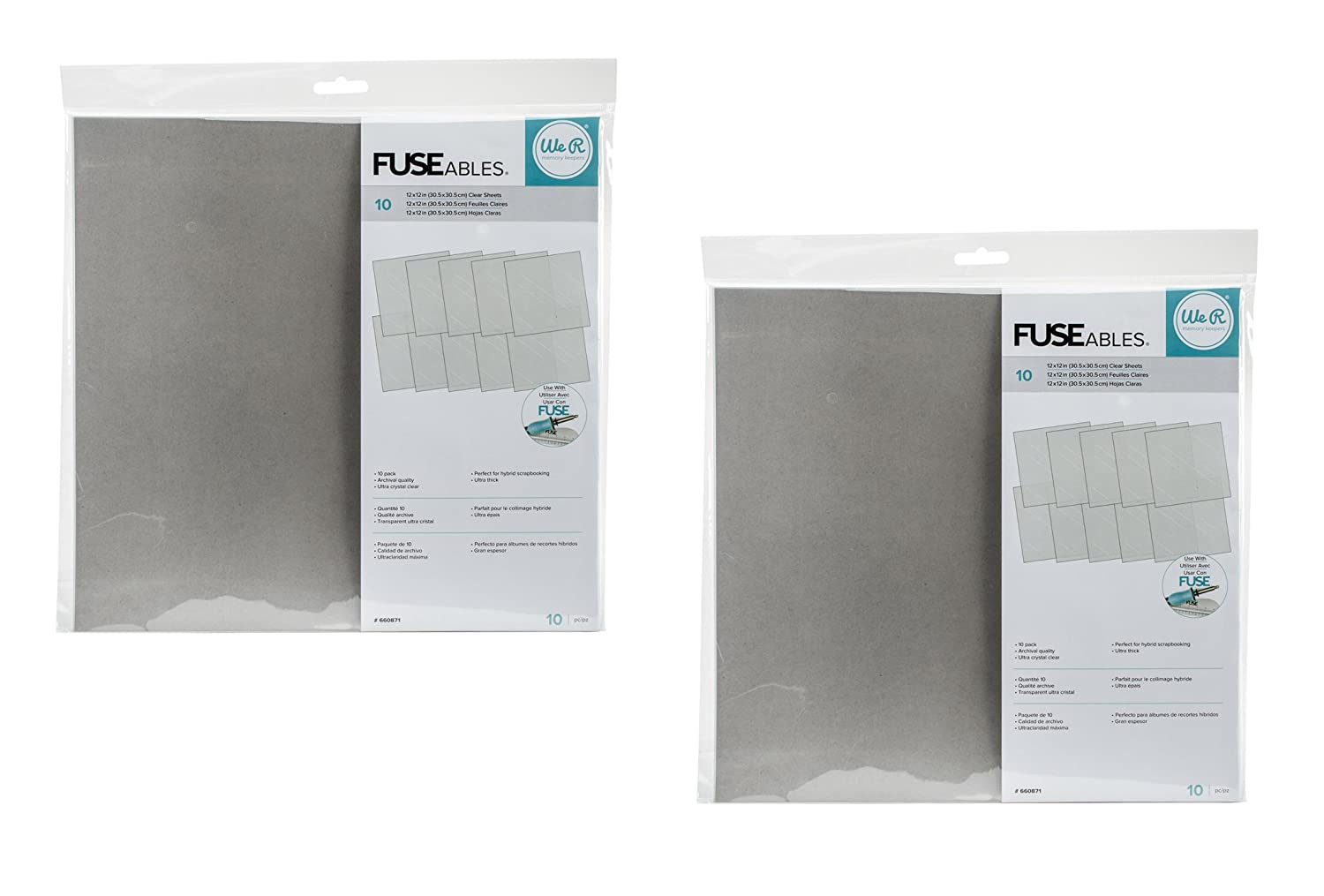 We R Memory Keepers 10 Piece Fuseables Clear Sheets, 12 x 12 (2 Pack) 12 x 12 (2 Pack)