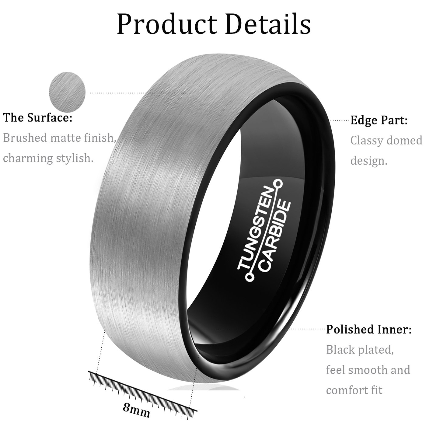 MNH Men's Carbide Tungsten Wedding Band Black 8mm Comfort Fit Brushed Matte Finish Ring Size 9.5 by MNH (Image #5)