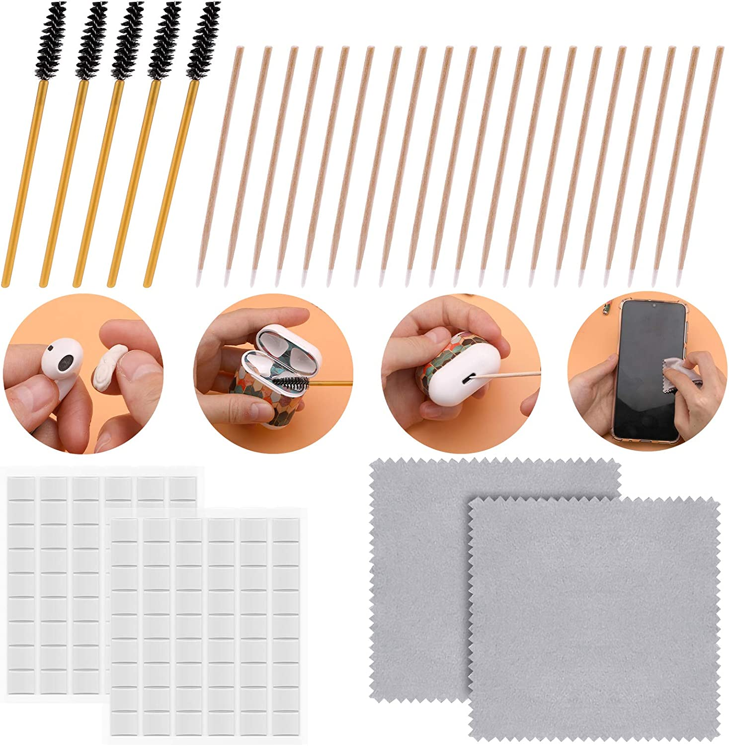 SAVITA 215pcs Professional Cleaner Kit Included 108pcs Putty Removers Wooden Cleaner Sticks Cleaning Brushes Microfiber Cloth for Apple Airpods, Airpods Case, Cellphones, Earphones, Camera, Keyboards