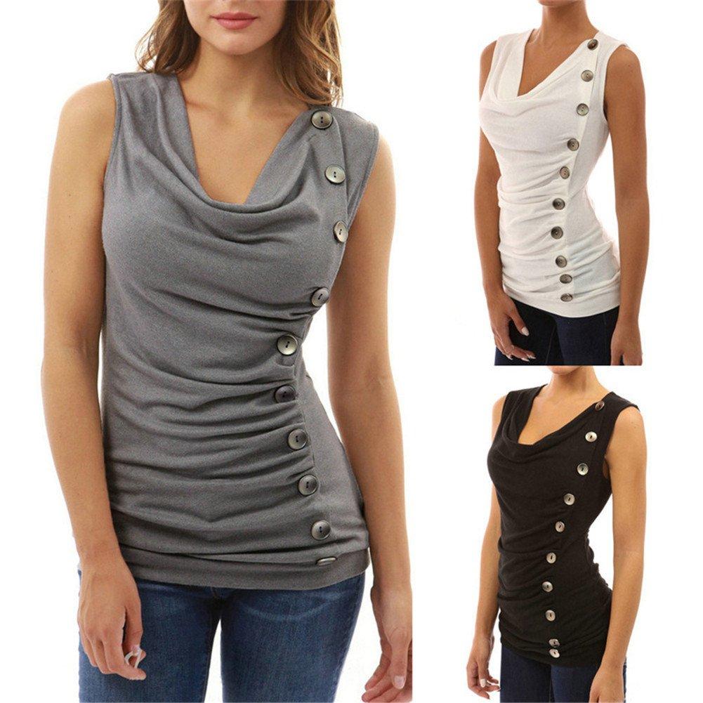 Tenxin Camiseta sin Mangas para Mujer, Moda Blusa para Mujer con Escote en V Tops Casual T-Shirt: Amazon.es: Ropa y accesorios