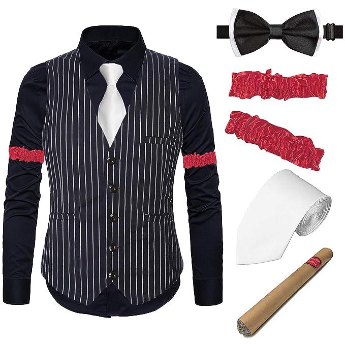 Amazon.com: Gatsby Chaleco a rayas para hombre de los años ...