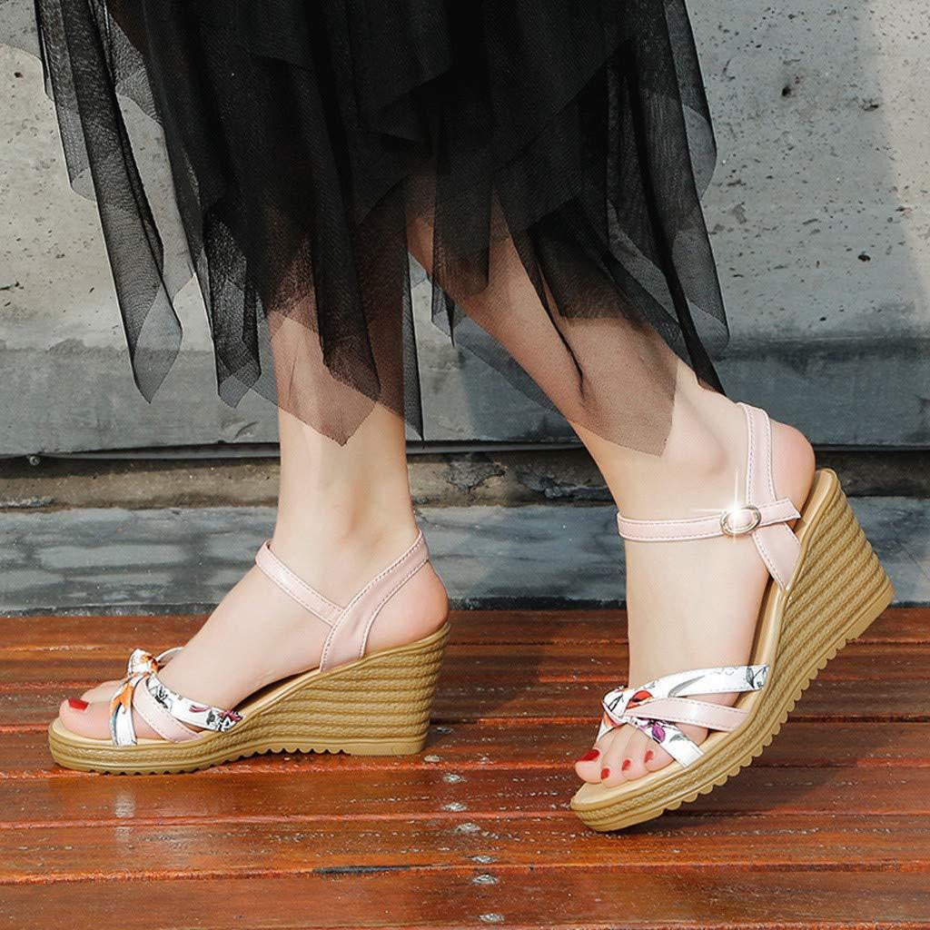 Bellelove Plate-Forme de Dames de Mode Femmes Wedge Summer Platform avec Une Boucle Floral Toe Sandales /à Talons Hauts