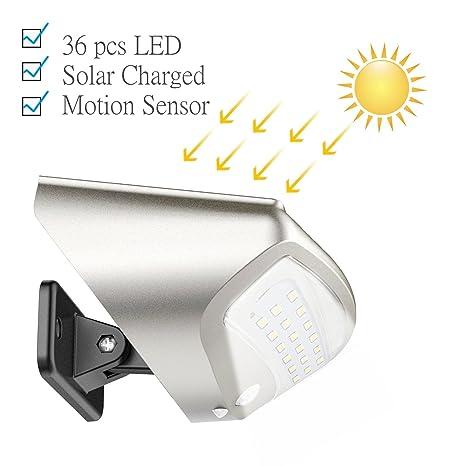 Luces solares de jardín, 400 lm Sensor de movimiento solar luces luz IP65 impermeable iluminación