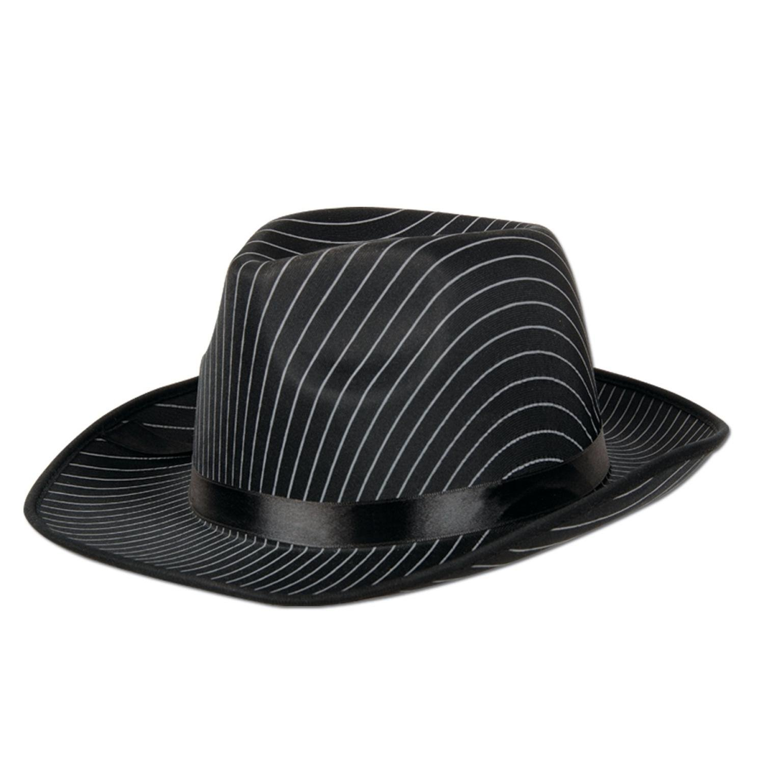 Pack of 12 Black Satin Band White Pinstripes Gangster Novelty Hat