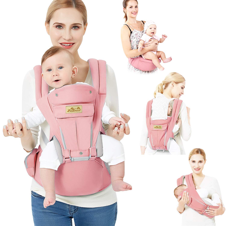 3,5 bis 20 kg Viedouce Babytrage Ergonomische mit H/üftsitz//Reine Baumwolle Leicht und atmungsaktiv//Multiposition:Dorsal Einstellbar f/ür Neugeborene und Kleinkinder von 3-48 Monate Ventral