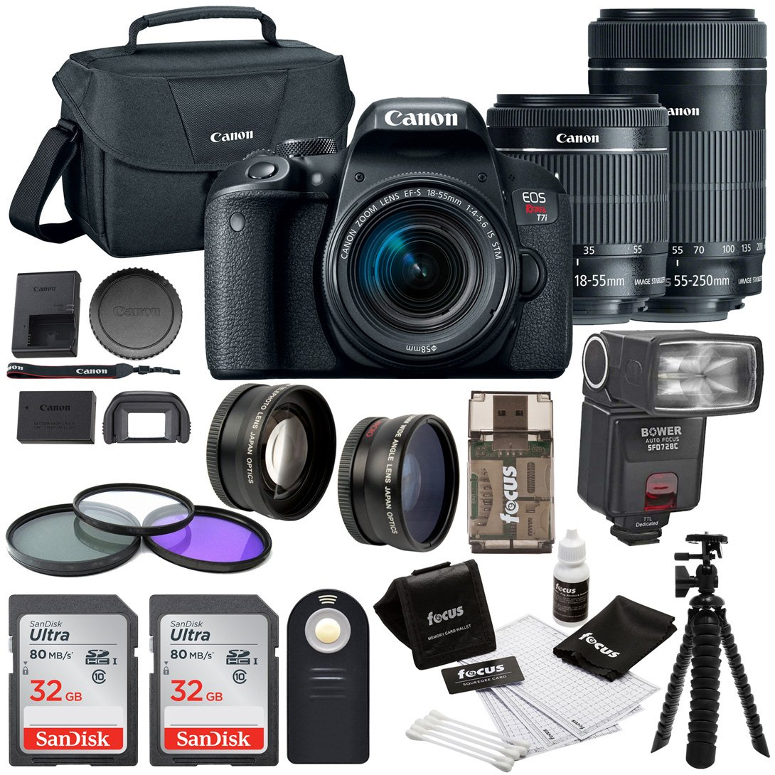 Canon EOS Rebel T7i w/ 18-55mm + 55-250mm lenses, + 64GB SDHC Memory Card + Bounce Swivel Zoom TTL Flash + 58mm Wide Angle & Telephoto Lenses + 58mm 3pc filter kit + Loads more accessories