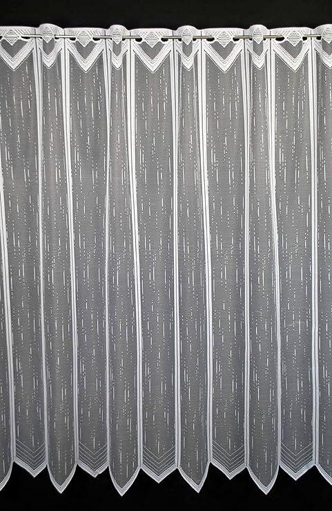 Colour: blanc Vous pouvez choisir la largeur des rideaux par paliers de 23,5 cm Rideaux cuisine Rideaux brise-bise le long en pointill/és 180 cm de haut