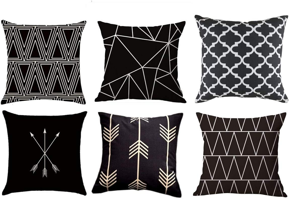 Mocofo Black And White Throw Pillow Smocked 6 Set Home Decor Stylelish Decorative Cotton Linen Couch Accent Pillows Covers Geometric Soft Canvas Sofa Square 18 X 18 Inch Black Geometric 6 Packs Home Kitchen