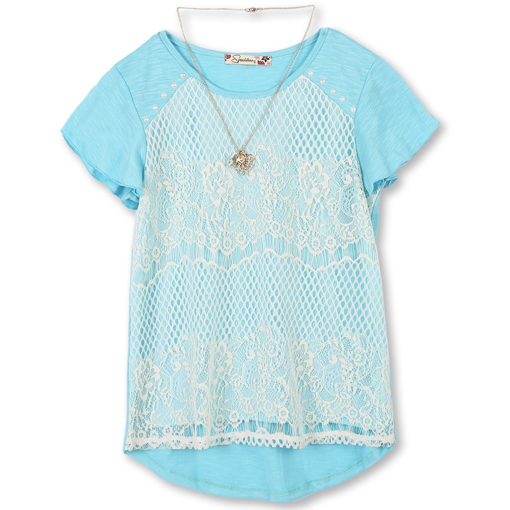 Speechless Big Girls' 7-16 Lace Front T-Shirt, Turquoise Ivory, XL