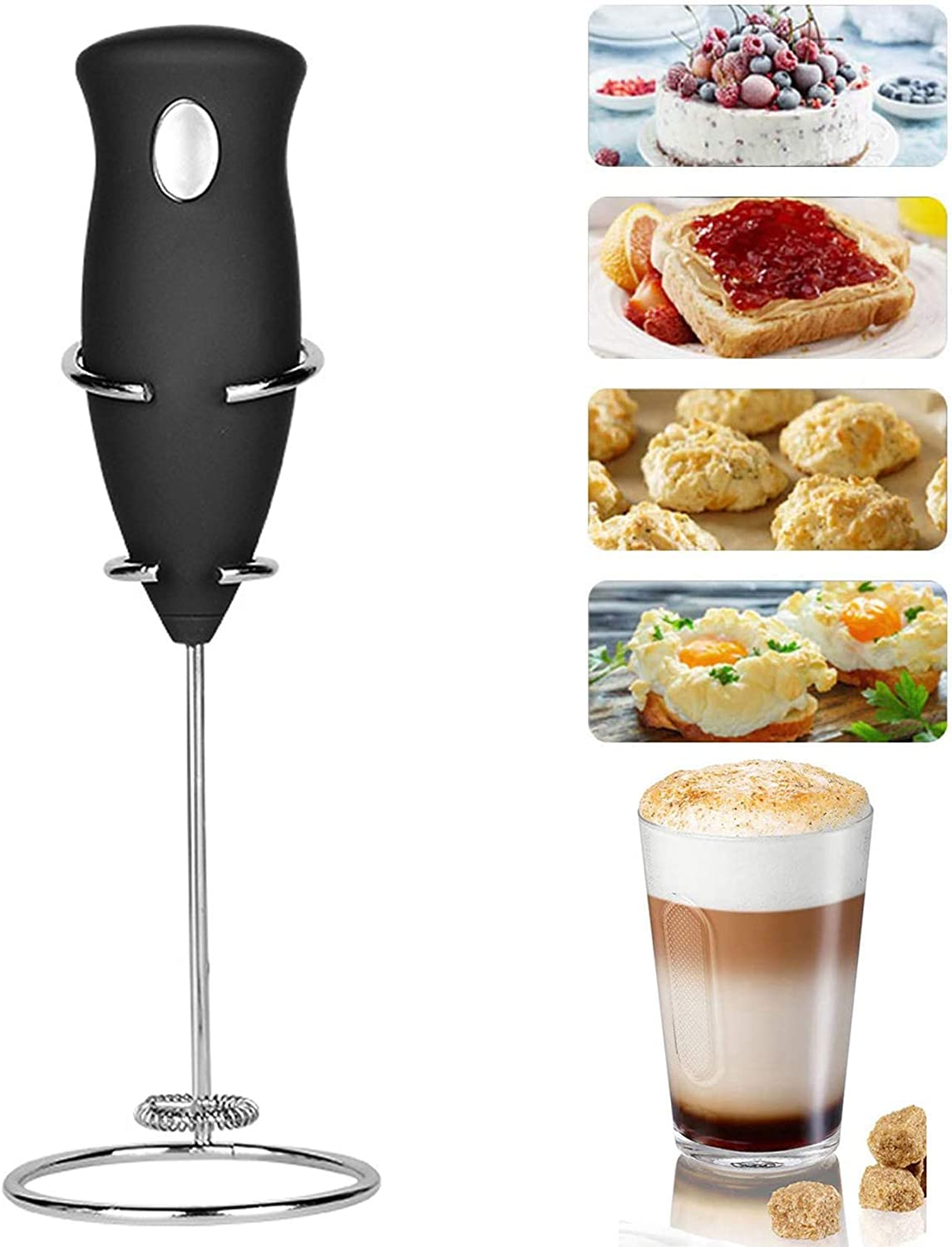 Handheld Milk Frother, Electric Hand Foamer Blender for Drink Mixer, Perfect for Coffee, Latte, Cappuccino, Hot Chocolate, Durable Drink Mixer With Stainless Steel Whisk, Stainless Steel Stand Include (Black)
