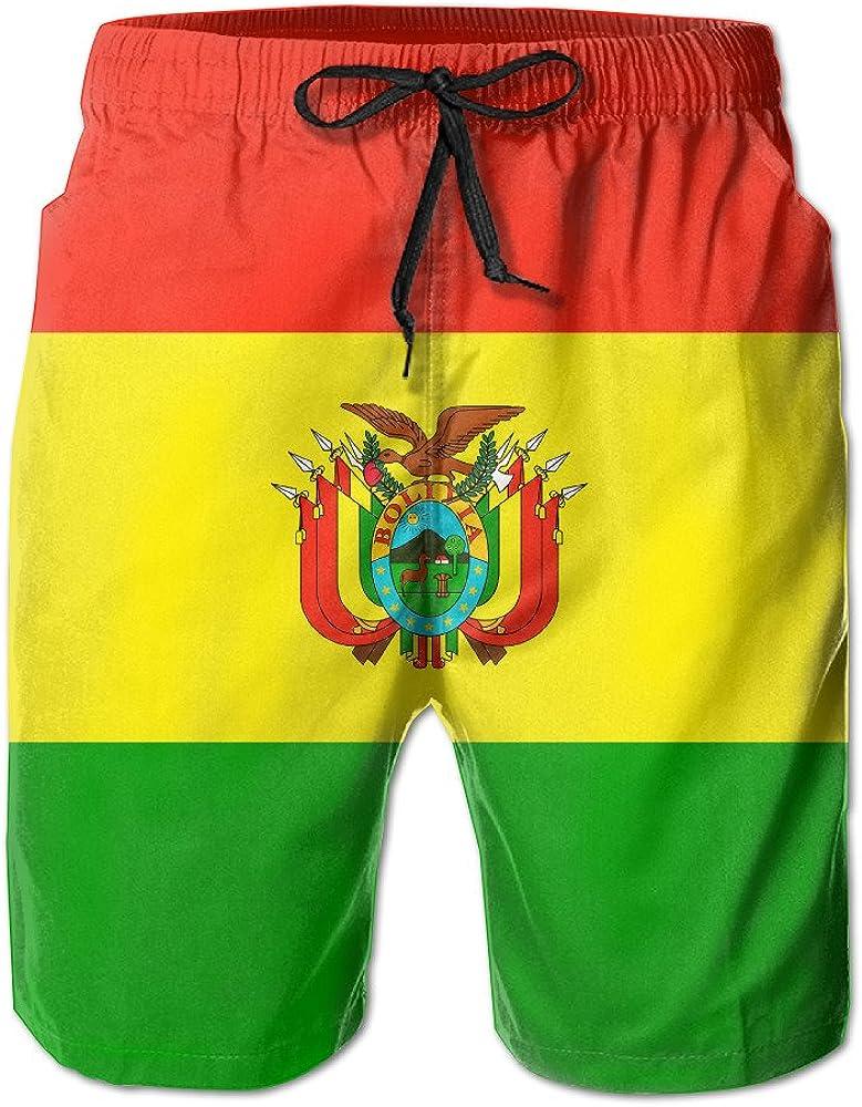 Mens Perus National Flag Quick Drying Moisture Perspiration Beach Pants Swim Trunks