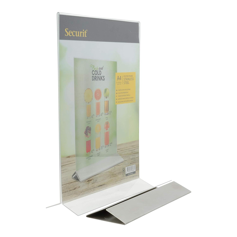 Securit - Portamenú de Mesa (plexiglás con Base de Acero ...