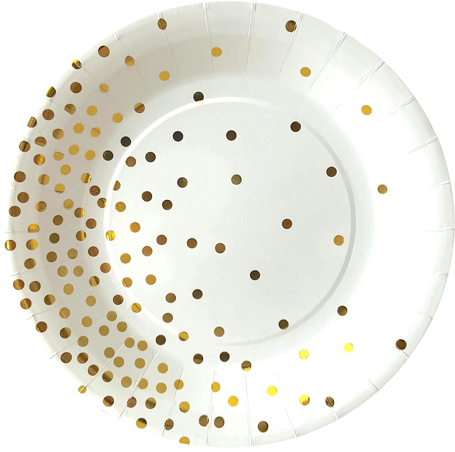 Disposable Plates 7 Plates 9oz Cups for Birthday Baby Shower 7 Plates Partay Shenanigans 9 Plates Serves 24-72 Piece White Paper Party Plates and Cups Set with Gold Foiled Confetti Polka Dots Party Supplies