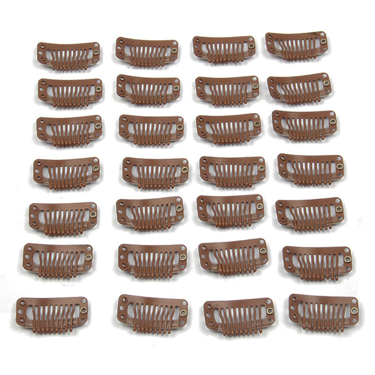 40pcs U Shape Snap Metal 32mm Clips for Hair Extensions Weft Clip-on Wig Black