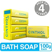 Cinthol Lime Soap, 100g (Pack of 4) with Free Soap, 100g