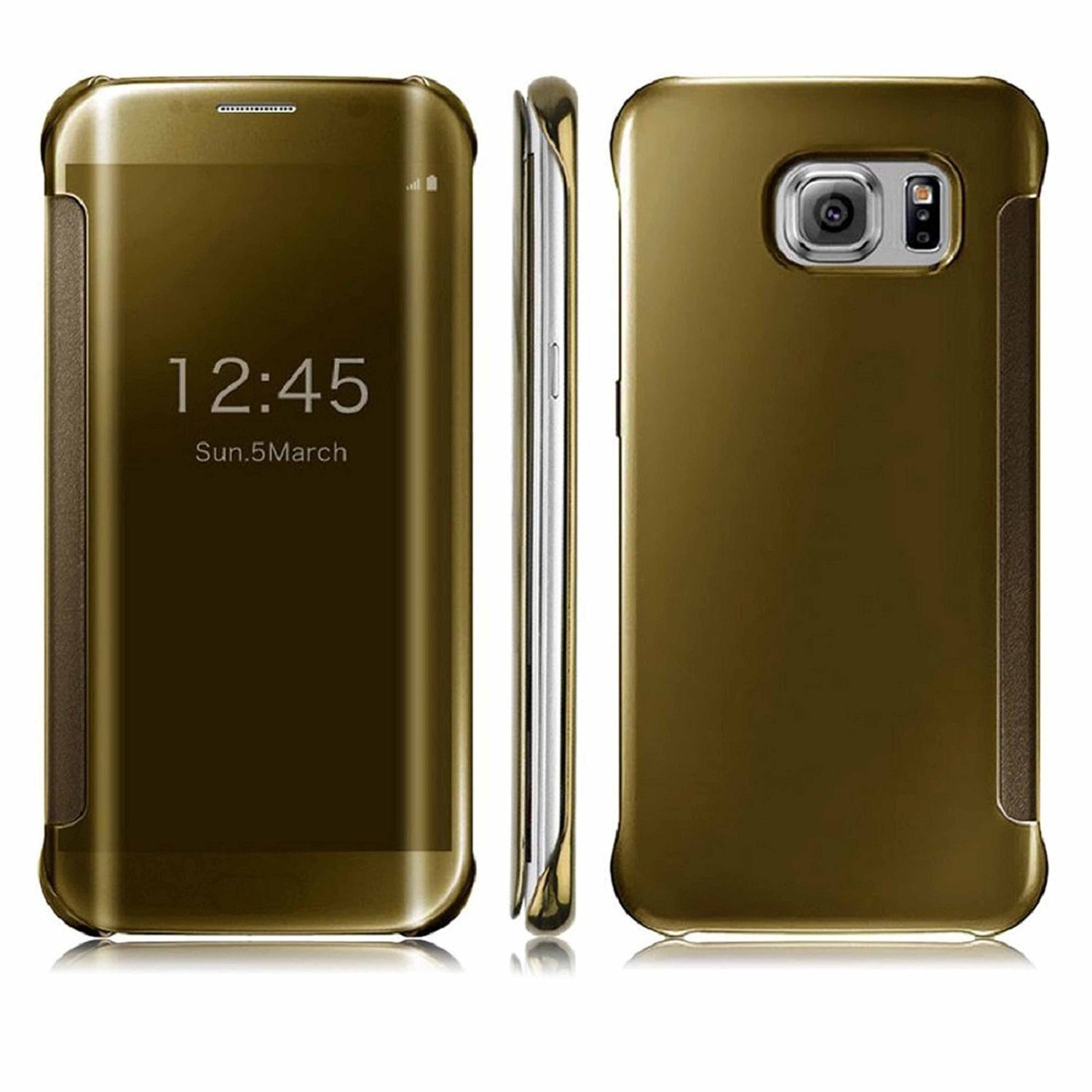 quality design 60034 57d22 ERIT Mirror Flip Case Cover for Samsung Galaxy S7 (Gold)