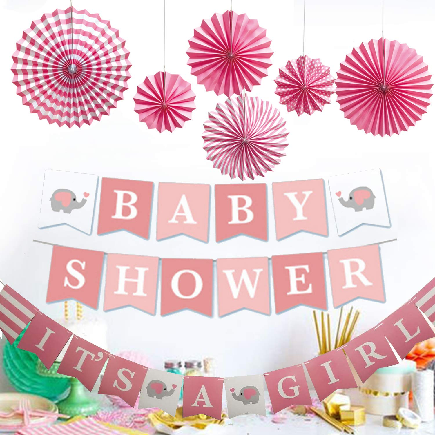 Elephant Baby Shower Party Supplies-It's a Girl Banner with Paper Fan for Girl Birthday Decoration White Pink Grey
