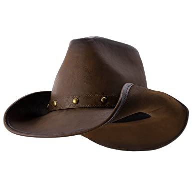 eb41101d50b Deadwood Trading Broken Hill - Faux Leather Outback Hat (Medium) Chocolate