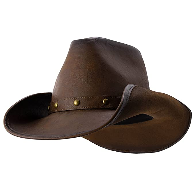 cfddd2a2 Deadwood Trading Broken Hill - Faux Leather Outback Hat (Medium) Chocolate