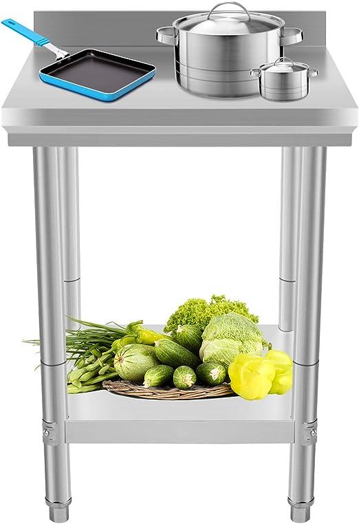 Moracle Mesa de Trabajo de Cocina Profesional 60x60x88cm Mesas de ...