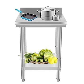 Moracle Mesa de Trabajo de Cocina Profesional 60x60x88cm Mesas de Cocina de  Acero Inoxidable Tabla Mesa para Cocina Bar Restaurante Escuela ...