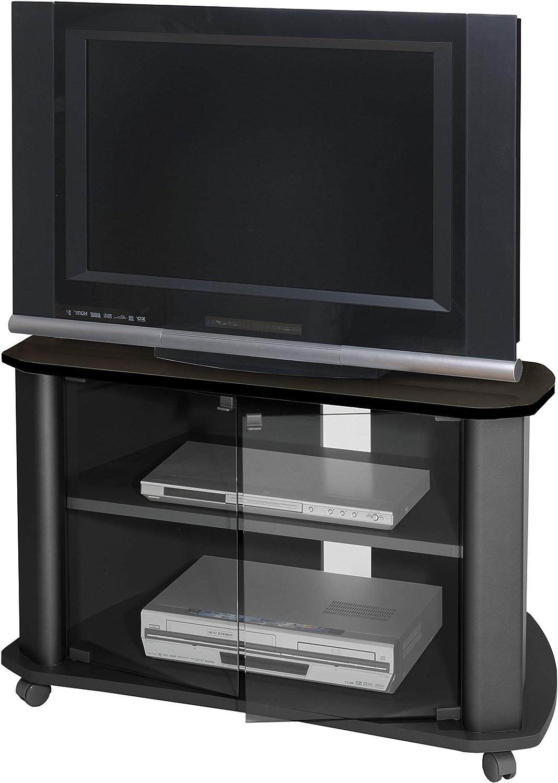 Mueble TV salon color negro auxiliar televisor puertas cristal ...