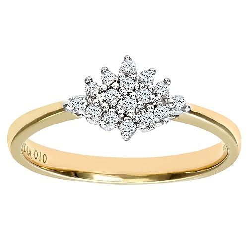 Naava Anillo para Mujer de Oro Amarillo 9K con Diamantes Talla 8.5