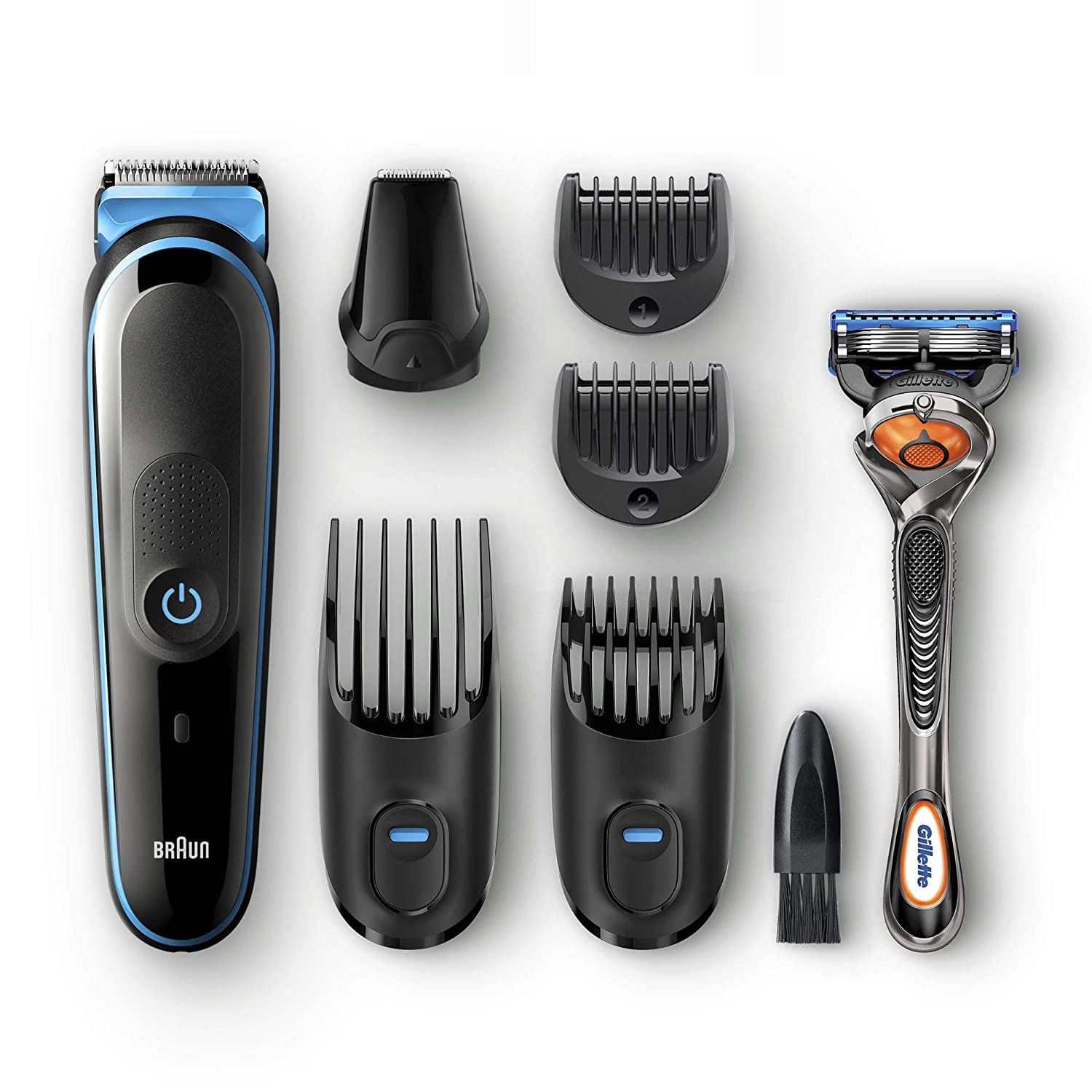 Braun 7-in-1 Beard Trimmer & Hair Clipper, All-In-One Manscaping Trimmer MGK5045, 13 length settings with only 4 combs, Detail Trimmer Attachment, Black/Blue