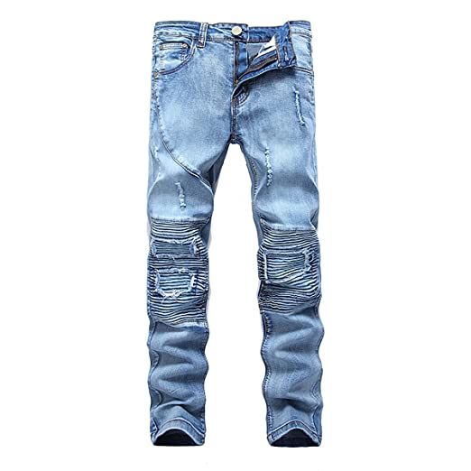 0ec18f26370f WEEN CHARM Men's Ripped Slim Straight Fit Biker Jeans Fashion Ankle Zipper Pants  With Broken Holes