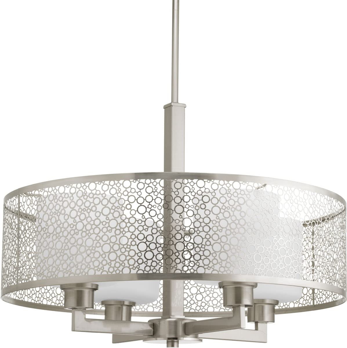 Progress Lighting P5156-09 Contemporary Modern Four Light Pendant from Mingle Collection in Pwt, Nckl, B S, Slvr. Finish, Medium, Brushed Nickel