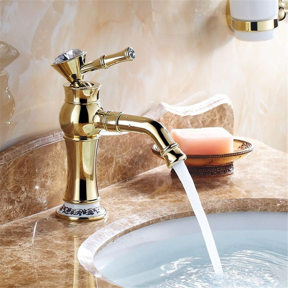 AQMMi Bathroom Vanity Sink Faucet Retro Brass Single Lever 1 Hole Ceramic Valve Hot and Cold Water Single Lever Bathroom Basin Sink Tap Bathroom Faucet