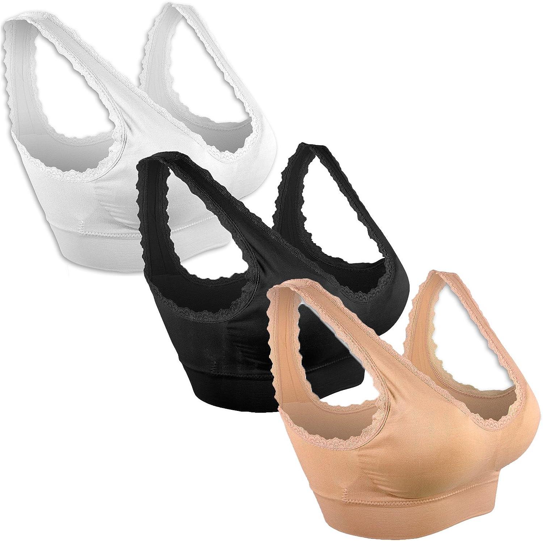 Libella Sujetador Deportivo sin Costuras de 3 Piezas Sujetador de Yoga con Almohadillas Removibles para Mujeres Ultra-Lift de Komfort- BH 3747
