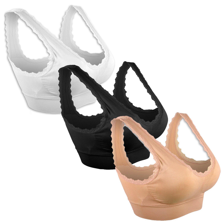 TALLA S-M. Libella Sujetador Deportivo sin Costuras de 3 Piezas Sujetador de Yoga con Almohadillas Removibles para Mujeres Ultra-Lift de Komfort- BH 3747