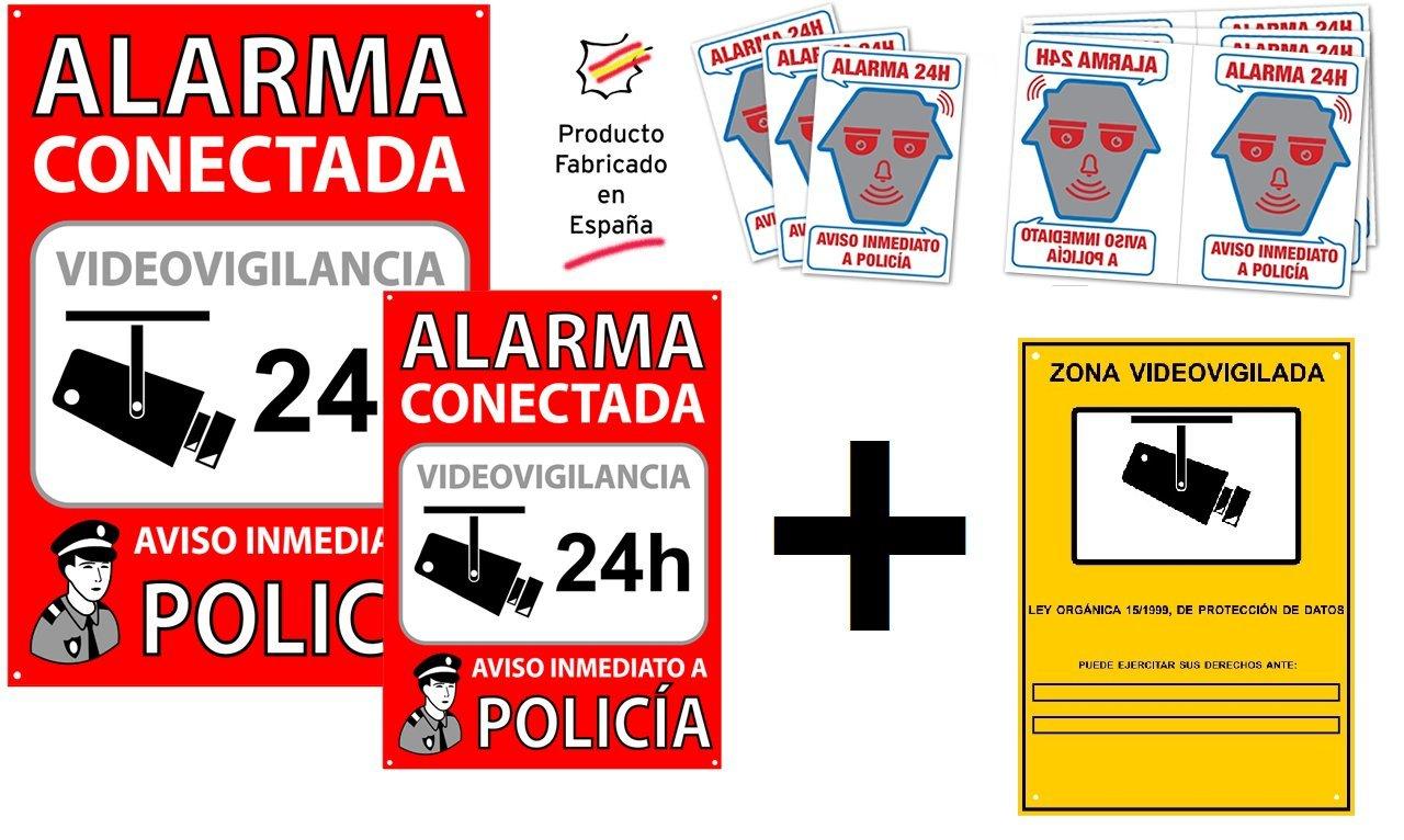 Pack o Conjunto de Carteles disuasorios + Zona Videovigilada + 6 Pegatinas de Seguridad para Interior/Exterior
